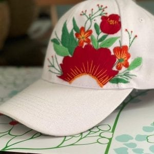 White cap red rose embroidery كاب مطرز يدوي هاندميد